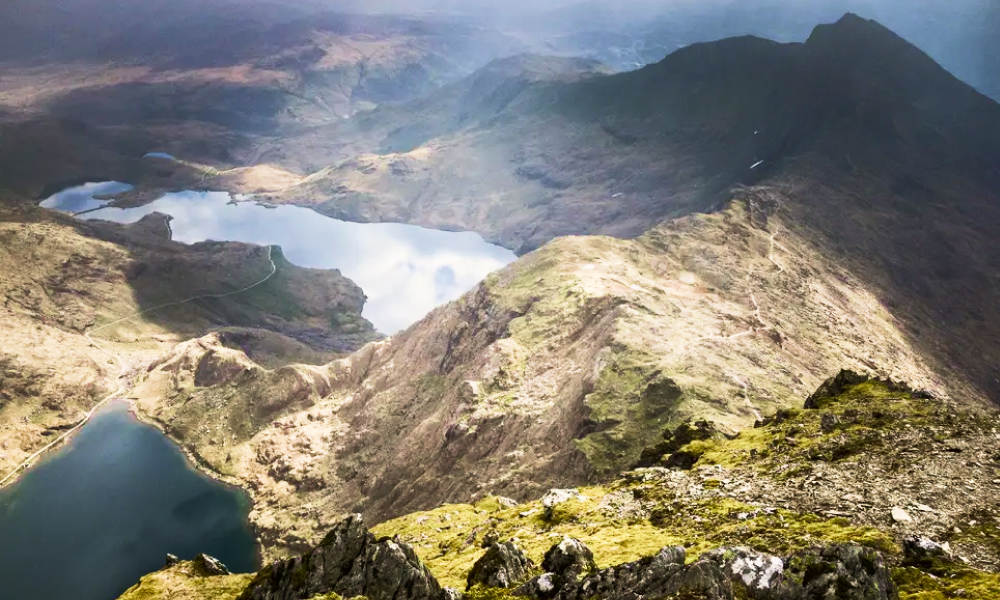 Snowdonia mountains from the sky on a stormy day