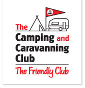 Camping and Caravanning Club logo with an outline of a caravan and tent. Underneath, in handwritten text there is the strapline of The friendly club